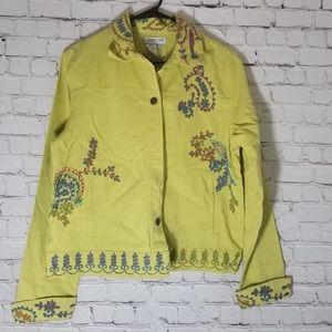 Coldwater Creek M Green denim detailed jacket